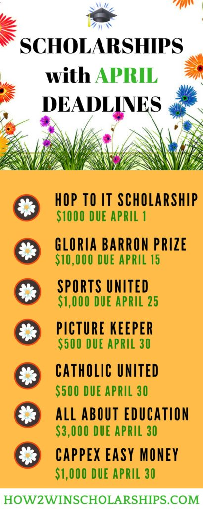 College Scholarships with April Deadlines - Save this list of April Scholarships!