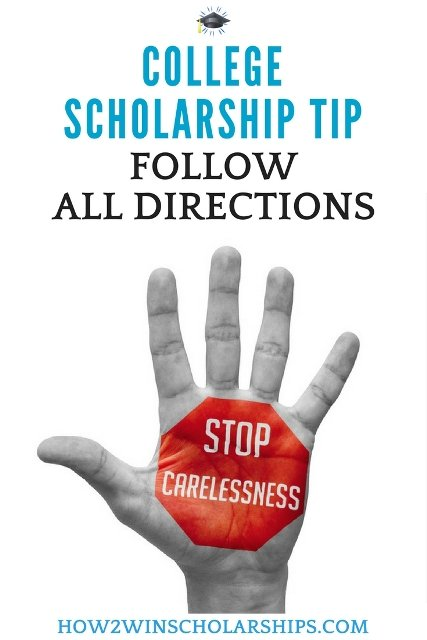 College Scholarship Tip - Follow All Directions #college #scholarships #ScholarshipMom