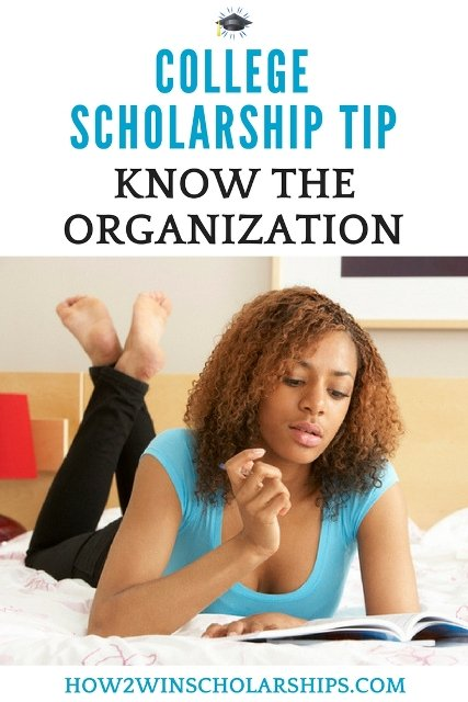 College Scholarship Tip - Know the Organization #ScholarshipMom #Scholarships #ScholarshipTips