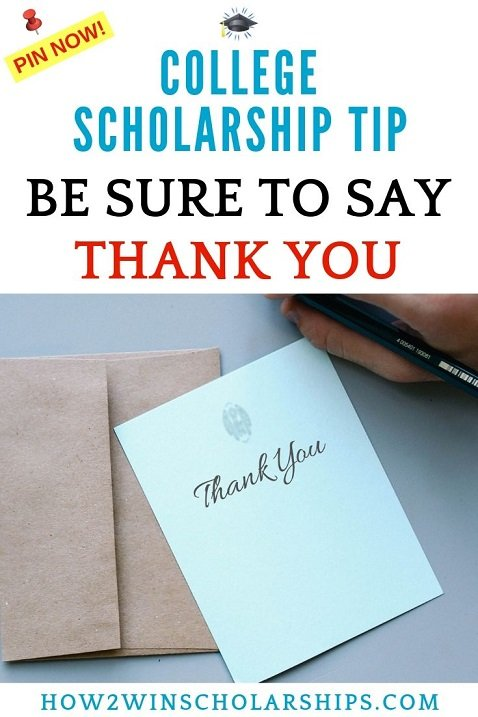 College Scholarship Tip - Be sure to say thank you!
