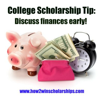 College Scholarship Tip: Discuss finances early in senior year, more scholarship tips from Monica Matthews found at https://how2winscholarships.com