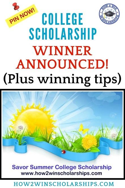 Savor Summer College Scholarship Winner 2021